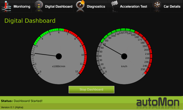 Dashboard Widget displaying RPM and Speed