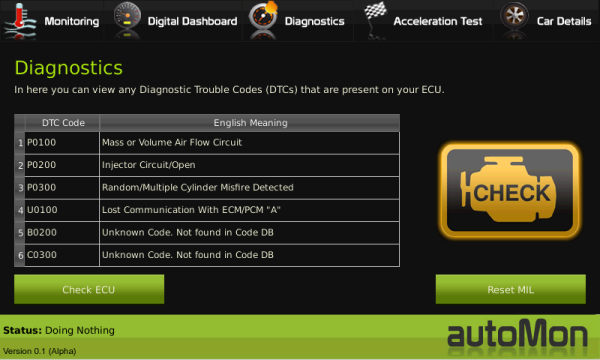 Automon has detected trouble codes in the ECU and engine malfunction indicator lamp (MIL) is on
